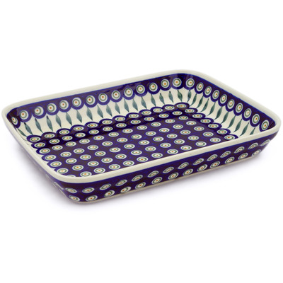 "Polish Pottery Rectangular Baker 12"" Peacock Leaves"