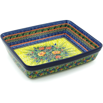 "Polish Pottery Rectangular Baker 12"" Splendid Morning Glow UNIKAT"
