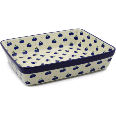 "Polish Pottery Rectangular Baker 12"" Wild Blueberry"