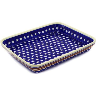 "Polish Pottery Rectangular Baker 13"" Stars And Stripes Forever"