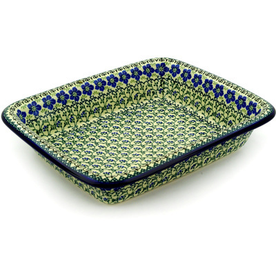 "Polish Pottery Rectangular Baker 14"" Blue Dogwood"