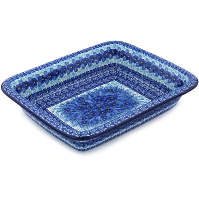 "Polish Pottery Rectangular Baker 14"" Deep Winter UNIKAT"