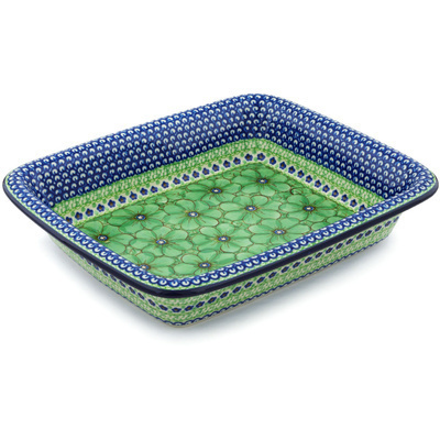 "Polish Pottery Rectangular Baker 14"" Key Lime Dreams UNIKAT"