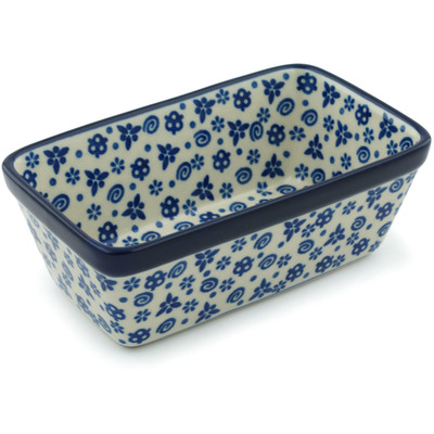 "Polish Pottery Rectangular Baker 6"" Blue Confetti"