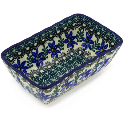 "Polish Pottery Rectangular Baker 6"" Blue Violets"