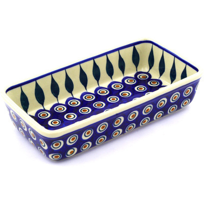 "Polish Pottery Rectangular Baker 8"" Peacock"