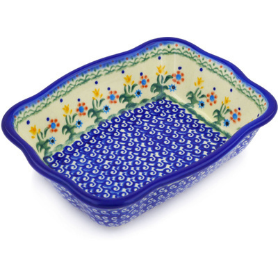 "Polish Pottery Rectangular Baker 8"" Spring Flowers"