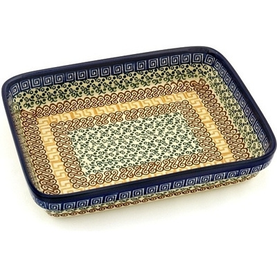 "Polish Pottery Rectangular Baker 9"" Grecian Sea"