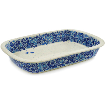 Polish Pottery Rectangular Baker with Grip Lip 12-inch Delicate Blue UNIKAT