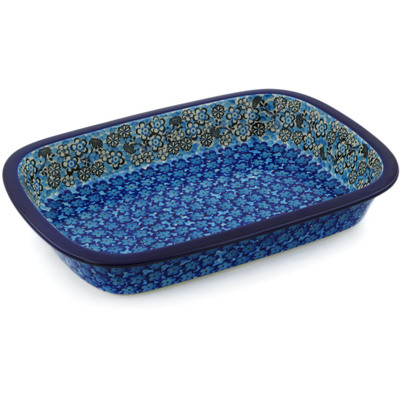 Polish Pottery Rectangular Baker with Grip Lip 12-inch Out Of Blue UNIKAT