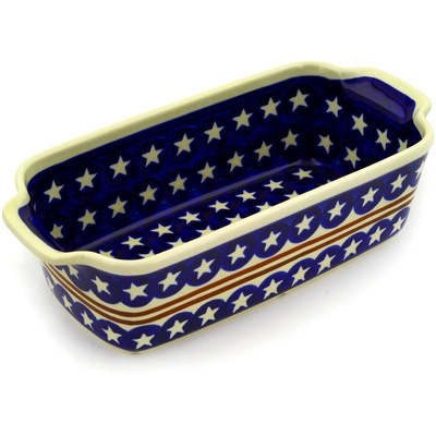"Polish Pottery Rectangular Baker with Handles 10"" Stars And Stripes Forever"