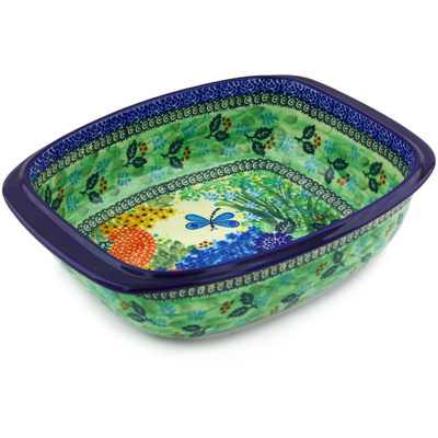 "Polish Pottery Rectangular Baker with Handles 12"" Garden Delight UNIKAT"