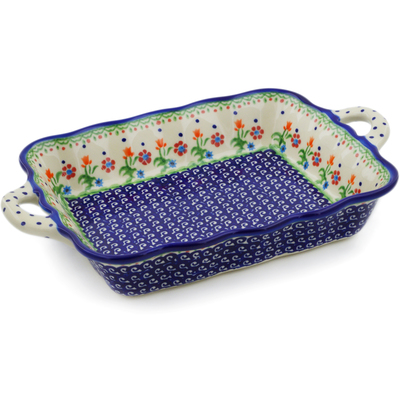 "Polish Pottery Rectangular Baker with Handles 12"" Spring Flowers"