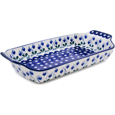 "Polish Pottery Rectangular Baker with Handles 13"" Bleeding Heart Peacock"