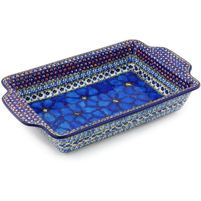 "Polish Pottery Rectangular Baker with Handles 13"" Cobalt Poppies UNIKAT"