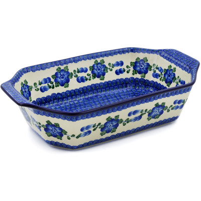 "Polish Pottery Rectangular Baker with Handles 14"" Blue Poppies"