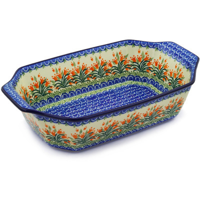 "Polish Pottery Rectangular Baker with Handles 14"" Crimson Bells"