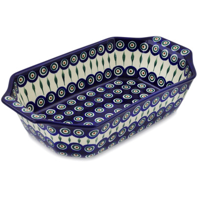 "Polish Pottery Rectangular Baker with Handles 14"" Peacock Leaves"