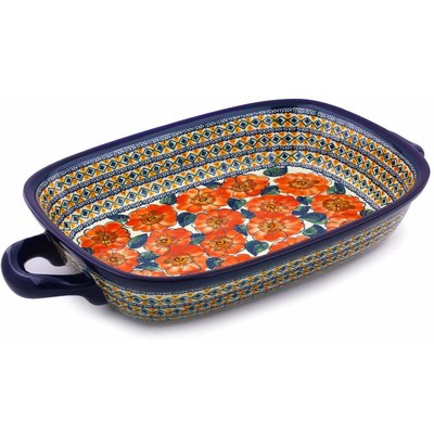 "Polish Pottery Rectangular Baker with Handles 18"" Peach Poppies UNIKAT"