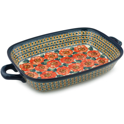 "Polish Pottery Rectangular Baker with Handles 19"" Peach Poppies UNIKAT"
