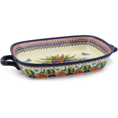"Polish Pottery Rectangular Baker with Handles 19"" Spring Splendor UNIKAT"