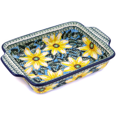 Polish Pottery Rectangular Baker with Handles 9½-inch Black Eyed Susan UNIKAT