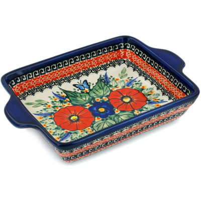 "Polish Pottery Rectangular Baker with Handles 9"" Butterfly Paradise UNIKAT"