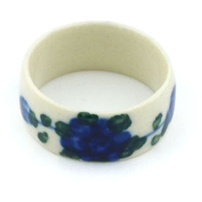 "Polish Pottery Ring 1"" Blue Poppies"