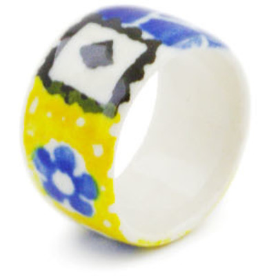 "Polish Pottery Ring 1"" Sunburst Daisies"