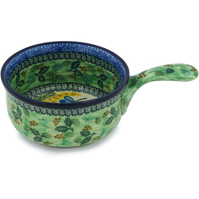 "Polish Pottery Round Baker with Handles 10"" Garden Delight UNIKAT"