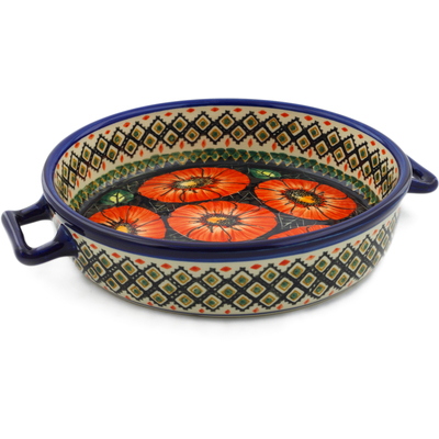 "Polish Pottery Round Baker with Handles 11"" Poppy Passion UNIKAT"