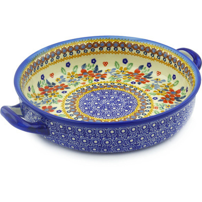 "Polish Pottery Round Baker with Handles 11"" Summer Bouquet UNIKAT"