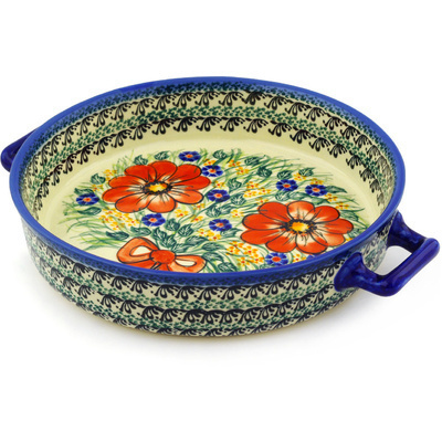 "Polish Pottery Round Baker with Handles 11"" Wild Bouquet UNIKAT"