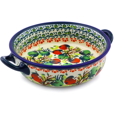 Polish Pottery Round Baker with Handles 6-inch Apple Orchard