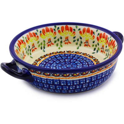 Polish Pottery Round Baker with Handles 6-inch Blooming Red