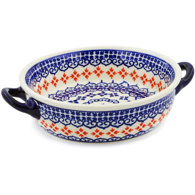 Polish Pottery Round Baker with Handles 6-inch Blue Heart