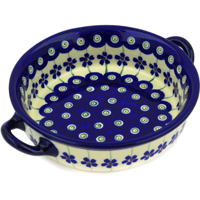 Polish Pottery Round Baker with Handles 6-inch Flowering Peacock