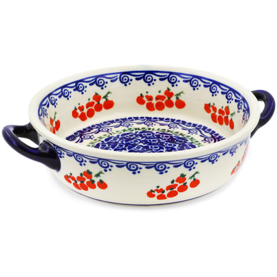 Polish Pottery Round Baker with Handles 6-inch Fruit Wave