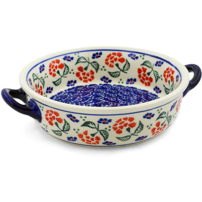 Polish Pottery Round Baker with Handles 6-inch Poppies In The Wind