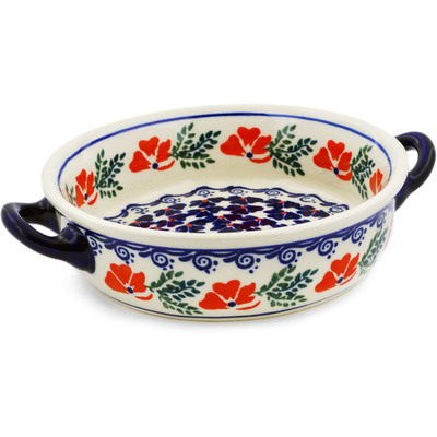 Polish Pottery Round Baker with Handles 6-inch Rain Of Field Poppies