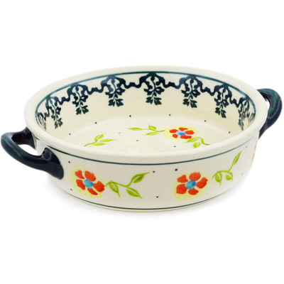 Polish Pottery Round Baker with Handles 6-inch Sunny Bloodstone