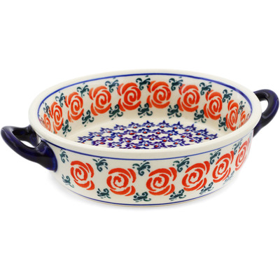 Polish Pottery Round Baker with Handles 6-inch Wreath Of Roses