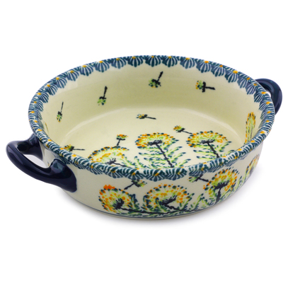 Polish Pottery Round Baker with Handles 6-inch Yellow Dandelions
