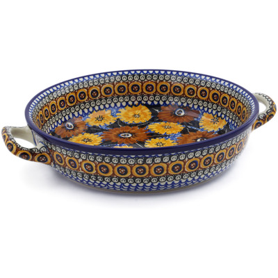 Polish Pottery Round Baker with Handles Medium Autumn Chrysanthemums UNIKAT