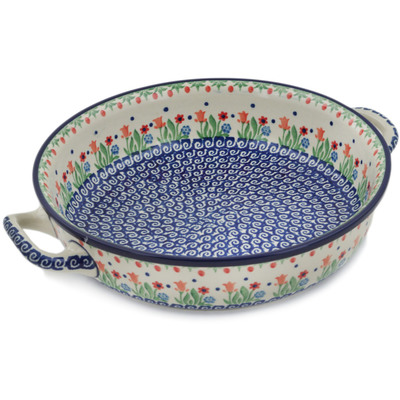 Polish Pottery Round Baker with Handles Medium Babcia's Garden