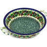 Polish Pottery Round Baker with Handles Medium Berry Garland