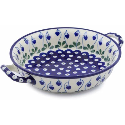 Polish Pottery Round Baker with Handles Medium Bleeding Heart Peacock