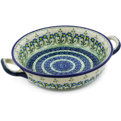 Polish Pottery Round Baker with Handles Medium Blue Daisy Circle