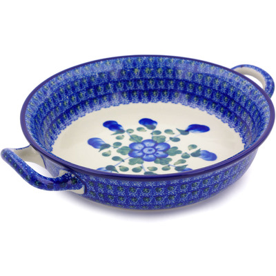 Polish Pottery Round Baker with Handles Medium Blue Poppies