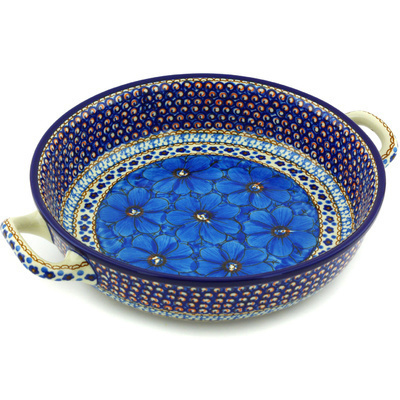 Polish Pottery Round Baker with Handles Medium Blue Poppies UNIKAT